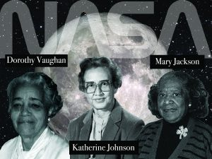 "Black and white photographs of Dorothy Vaughn, Katherine Johnson, and Mary Jackson are superimposed on a background image of the moon and stars. Large letters spell out ""NASA"" across the top of the image, and each woman's name is shown alongside her photograph."