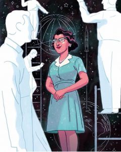 An illustration of Katherine Jackson. She is drawn as a young scientist, wearing a blue dress and glasses. Around her are figures of men, drawn only as outlines and completely white in color, against a black background. On the background are sketches of stars, planets, and a spacecraft taking off from one of the planets.