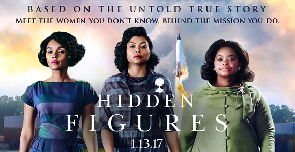 Movie Release image of three women, who are the main characters of Hidden Figures.