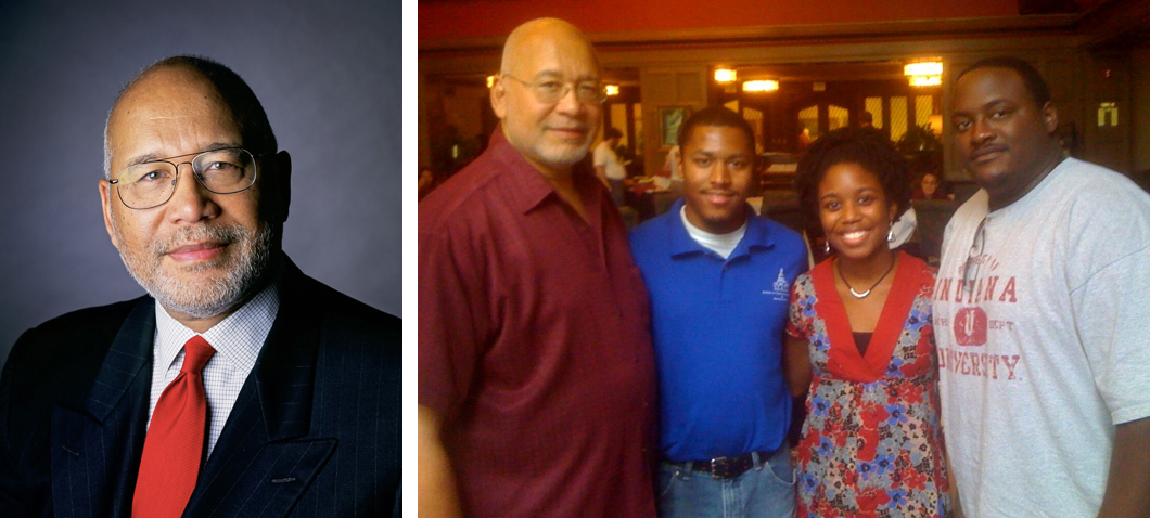 Left: A formal headshot of Dr. Adam W. Herbert. Right: A group photograph of Dr. Adam W. Herbert, Brett Jefferson (author), Dr. Erikka Vaughan, and Dr. Byron Gipson.