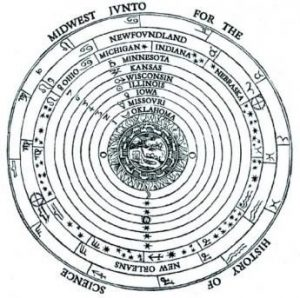 The logo of the Junto. It is a set of concentric circles labeled with the names of different states in the Midwest of the United States. It mirrors a geocentric cosmological diagram (with the earth at the center) in Peter Apian's Cosmographia, 1524.