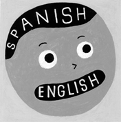 Cartoon image of a child whose brain thinks in Spanish and whose mouth speaks in English