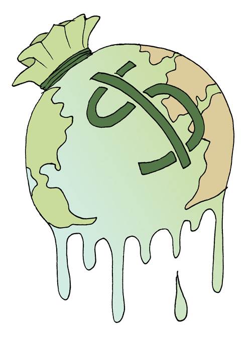 A globe, shaped like a money bag and plastered with a dollar sign, drips away into nothing.