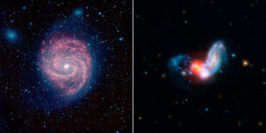 Two images for side by side comparison. In the left image, against a black background with faint stars, the center of the image is dominated by a red spiral galaxy. It has two main arms spiralling out from a hot white center. The galaxy is also surrounded by a halo of blue gas. In the right image, a black background against which two galaxies are colliding. The center is a red glow of gas and blue wisps form an arc to the left. On the right, a blue spiral galaxy is merging into the red center, the arms of the spiral being pulled away from the structure.