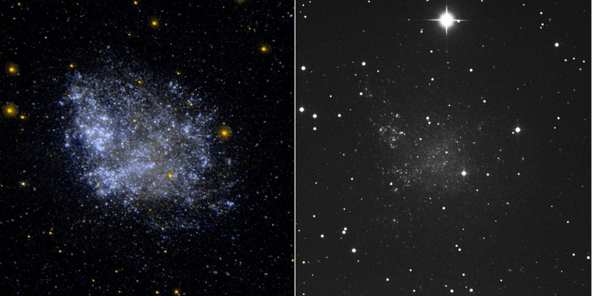 A comparison of the dwarf galaxy IC 1613 as seen in two different wavelengths. The image on the left is light blue and is populated with many specks of light against a nearly black background. This is the ultraviolet. The image on the right is visible light and only a few bright white stars stand out with a patch of haze in the center.