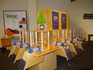 A wooden display with a green nose on it with a variety of plastic enclosures containing plastic models of a chemical structure inside. There is a plastic tube at the bottom of each plastic enclosure and a space under the tube that contains a blank space for a card to be placed and a plaque with information about the scent molecule in the corresponding plastic tube and enclosure.