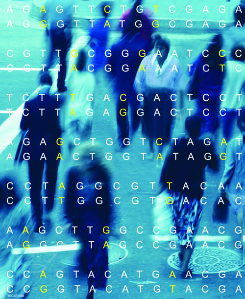 Image showing blurred image of random people in the background and sequence of DNA with SNPs highlighted