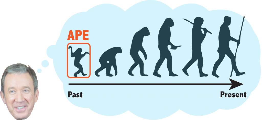 "This figure shows a series of hominoid primates, going from smaller, less bipedal ones on the left to more erect, human-like on the right. The leftmost primate is circled and reads ""ape"". An arrow at the bottom gives the time scale, with the past on the left and present on the right."
