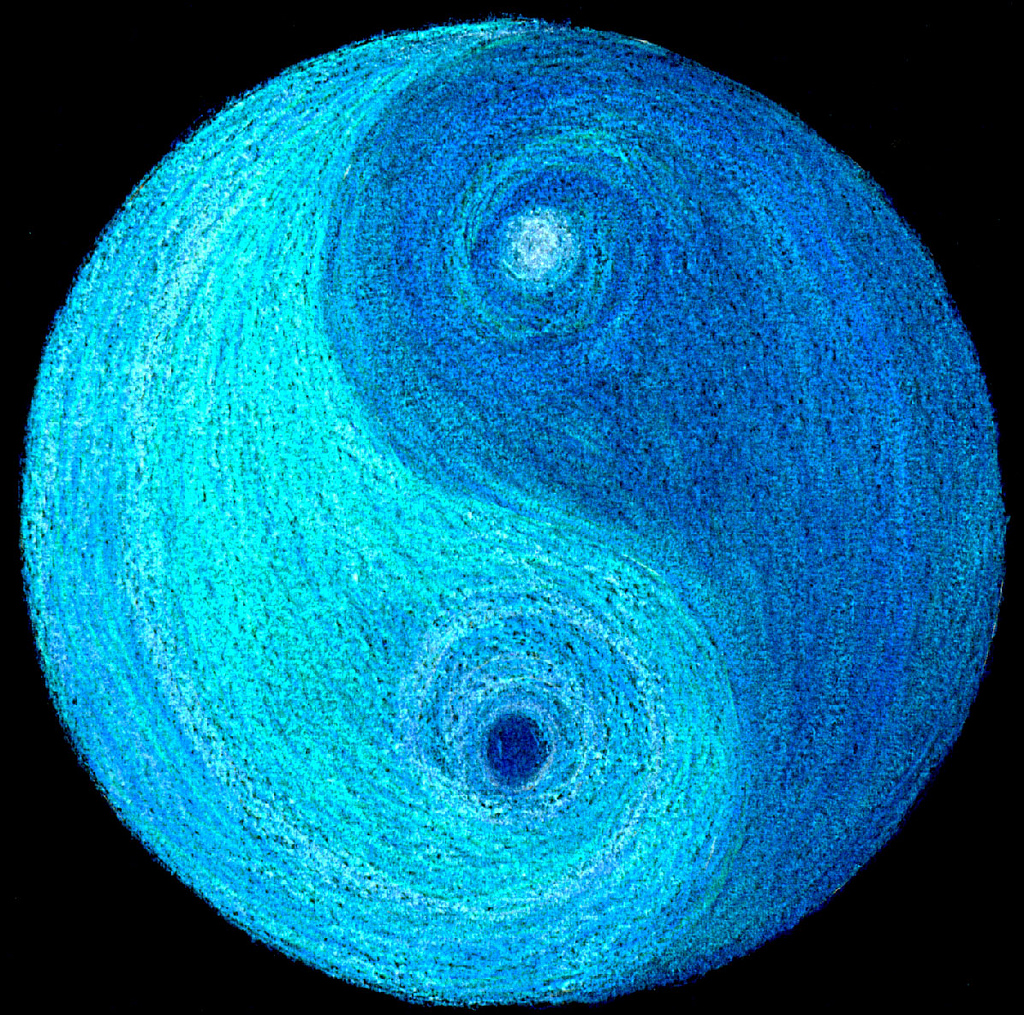 Yin Yang symbol with dark and light blue sides.