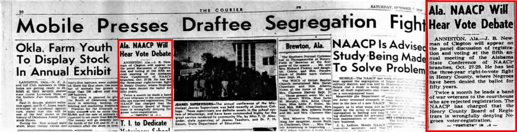 Newspaper clipping from the Pittsburgh Courier on October 7th, 1950. As shown in the panel on the right, J.B. Newman appeared on a NAACP voting rights panel due to his work on the issue in Henry County, where Abbeville is.