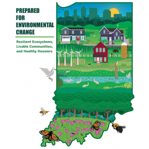 "The logo for the Environmental Resilience Institute, which is an artistic representation of the state of Indiana. The logo is an outline of the state with drawings of wildlife, wind turbines, farms and a city skyline included in the borders. It is accompanied with the words: ""Prepared for Change: Resilient Ecosystems, Livable Communities, and Healthy Hoosiers"""