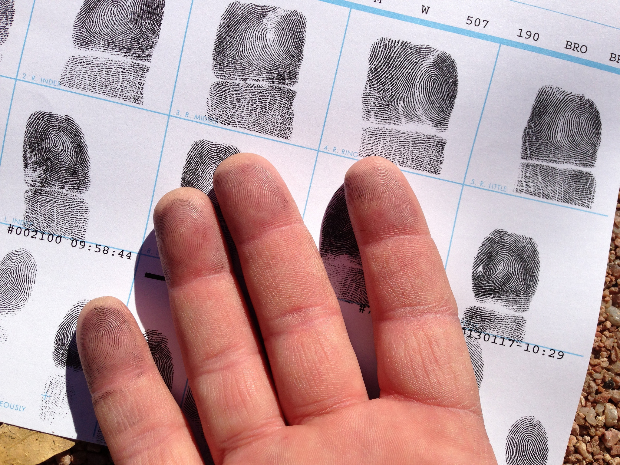 Image of a hand overlying a fingerprint sheet. Black ink is still visible on the fingers.