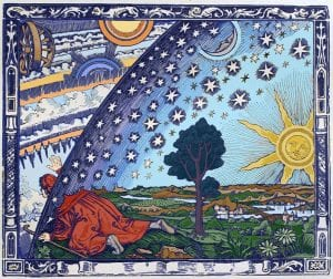 The engraving depicts a man, clothed in a long robe and carrying a staff, who kneels down and passes his head, shoulders, and right arm through a gap between the star-studded sky and the earth, discovering a marvelous realm of circling clouds, fires and suns beyond the heavens.