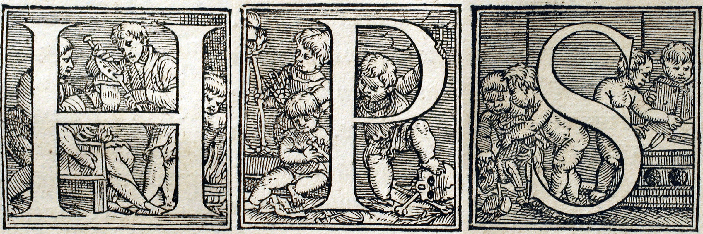 "Ornate ""drop cap"" letters for H, P and S in black and white, adorned by illustrations of practitioners of medicine, cherubim, and book makers."
