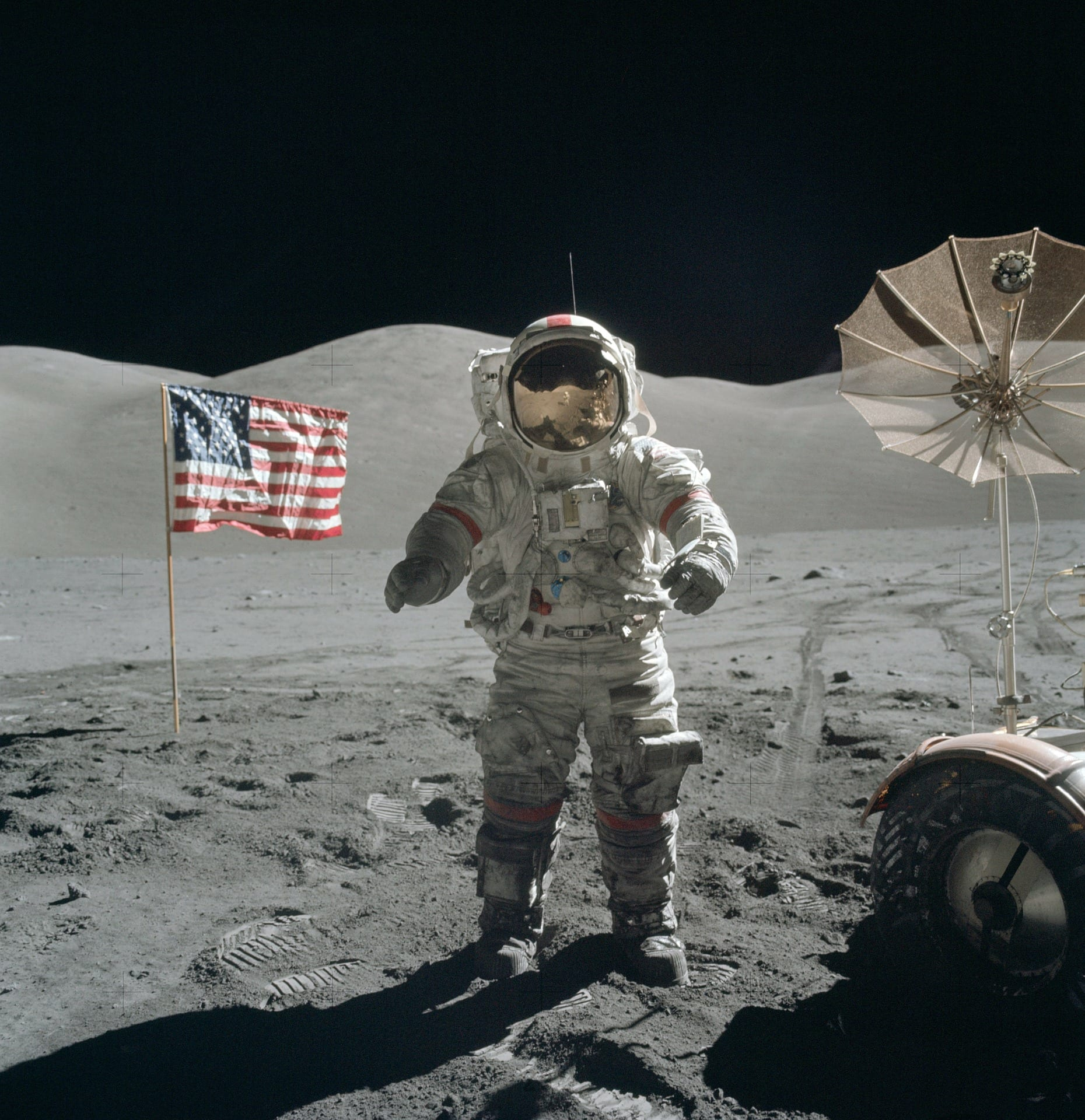 Image of an astronaut on the moon.