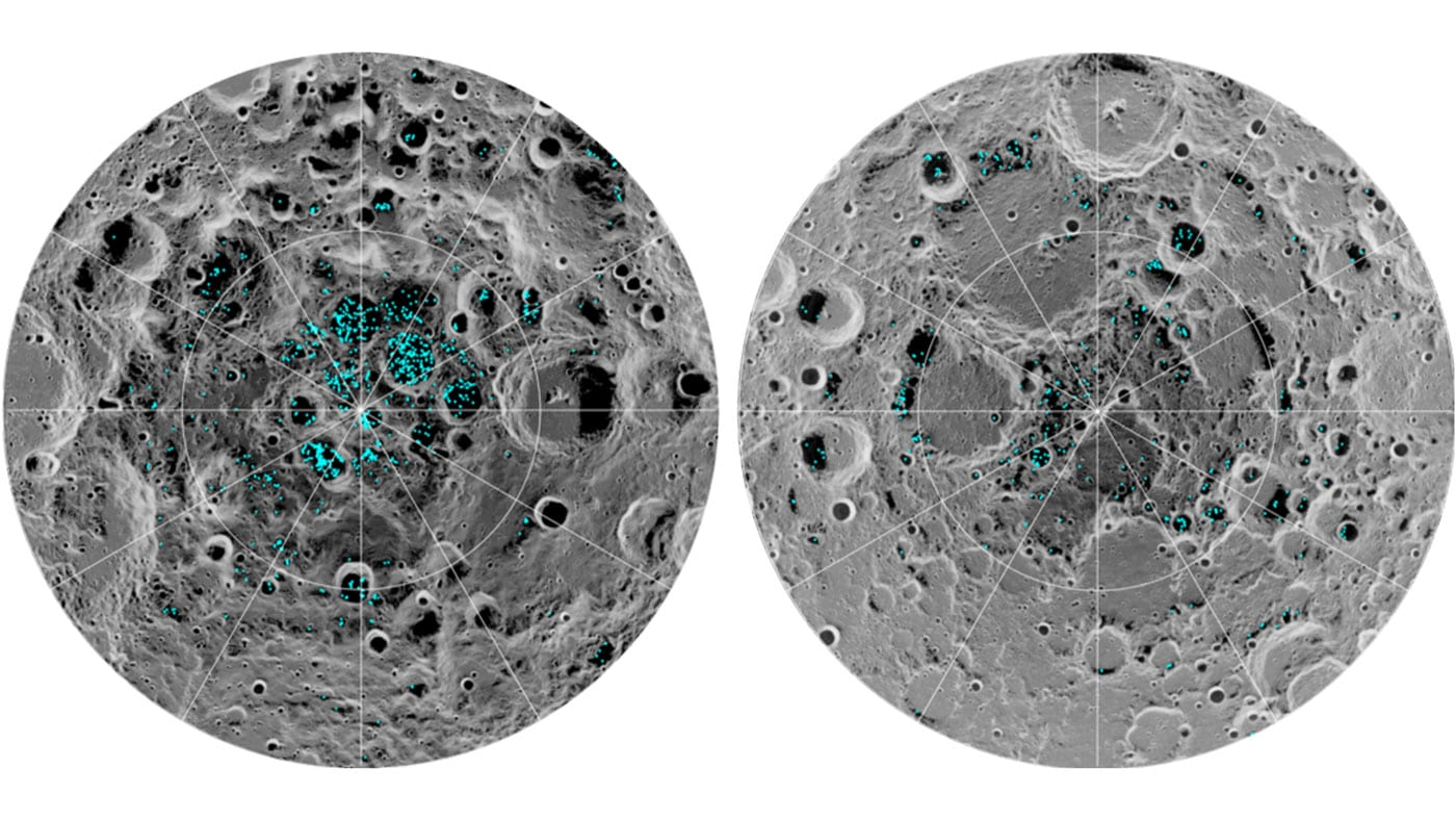 Images of the moon with blue markers to indicate where water has been found.