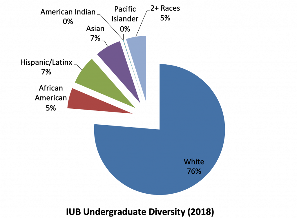Pie chart reflecting the racial distribution of students at IU Bloomington in 2018. The pie chart reflects 76% of students identify as White, 7% as Asian, 7% as Hispanic or Latinx, 5% as African American, 5% as 2 or more races, and 0% as American Indian or Pacific Islander.