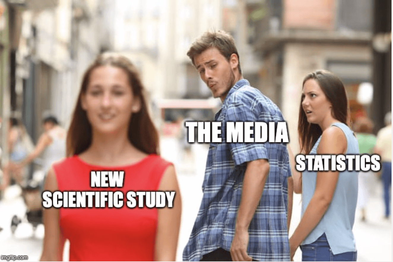 "A meme about statistical significance. ""The media"" is looking past ""Statistics"" and focusing on a ""new scientific study"" instead."