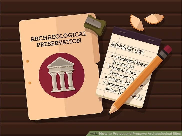 "Colored image that reads ""archaeological preservation"" and includes a list of some of the American laws that protect archaeological sites."