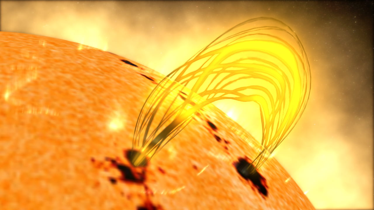 The surface of the sun is shown with two large, black splotches. Connecting these two splotches is an arc of yellow light drawn coming out of the sun and extending into space.