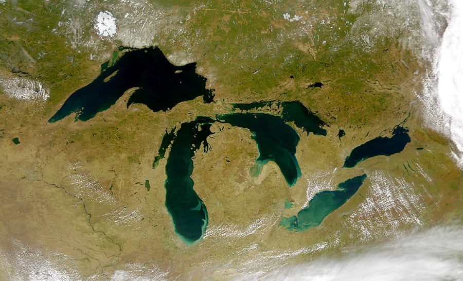 Image of the Great Lakes Basin taken from space.