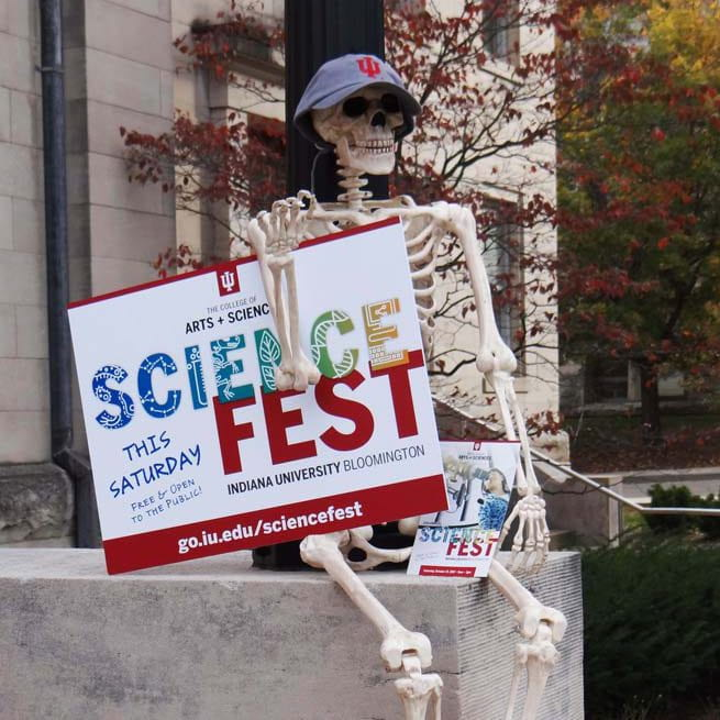 a plastic skeleton holds a science fest sign