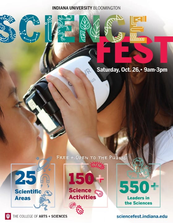 flyer for science fest, which will be held on saturday, october 26th from 9 am to 3 pm