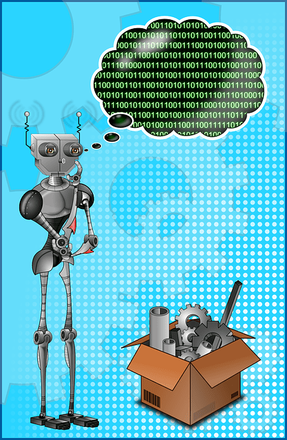 A machine shaped like a human stands upright, staring at a brown box full of machine parts below. The machine looks puzzled, and a thought bubble with binary code sits above the machine's head.