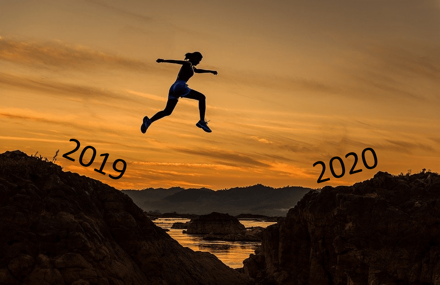 a woman leaps from one hill (labelled 2019) to another (labelled 2020)
