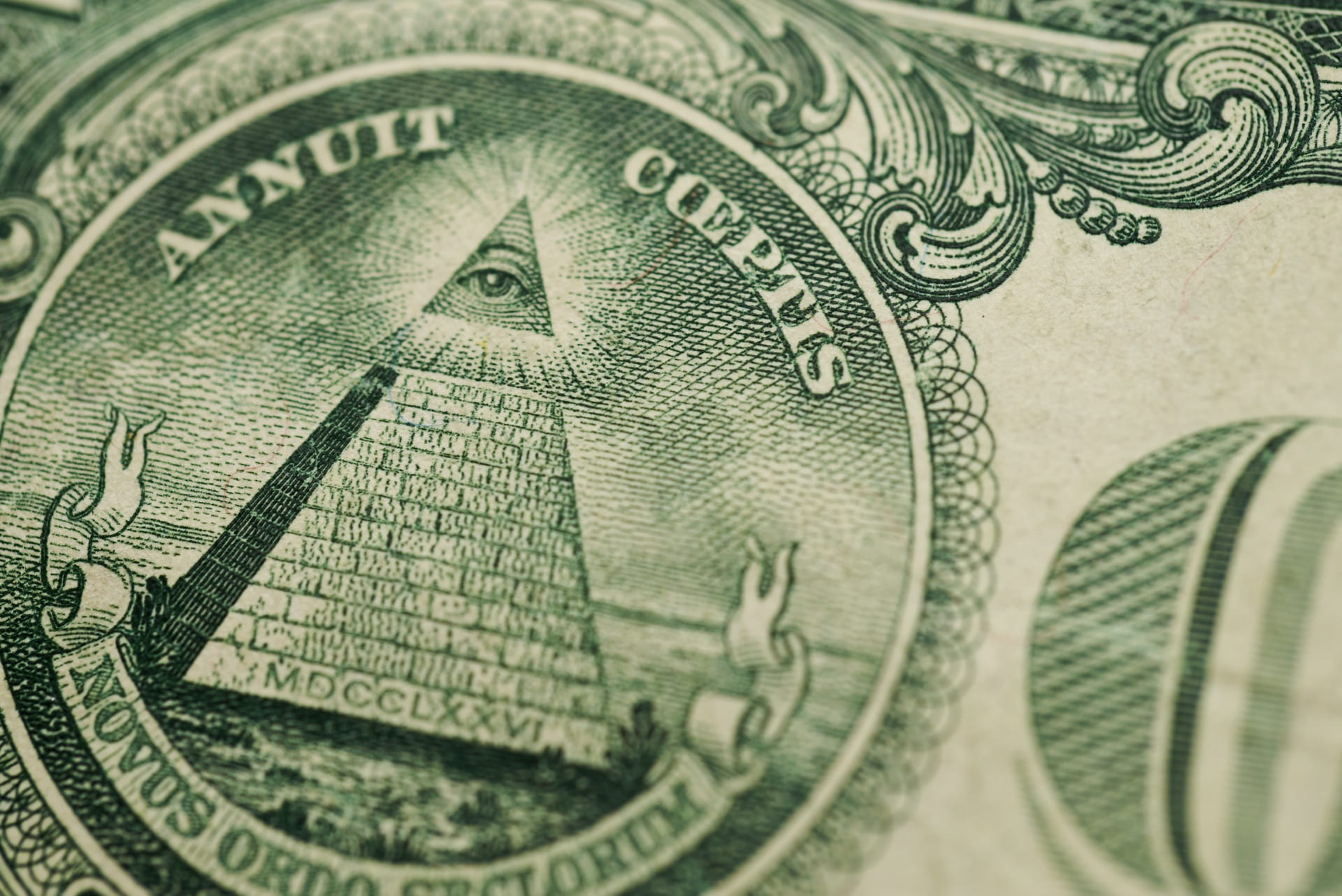Photo of the pyramid and eye from on the back of US currency