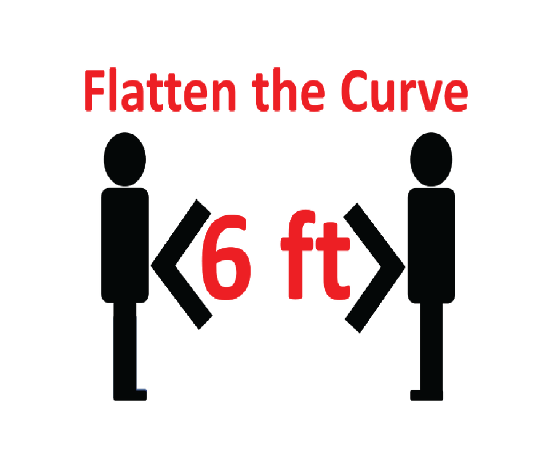 "Image showing two cartoon people six feet apart, saying ""flatten the curve"""