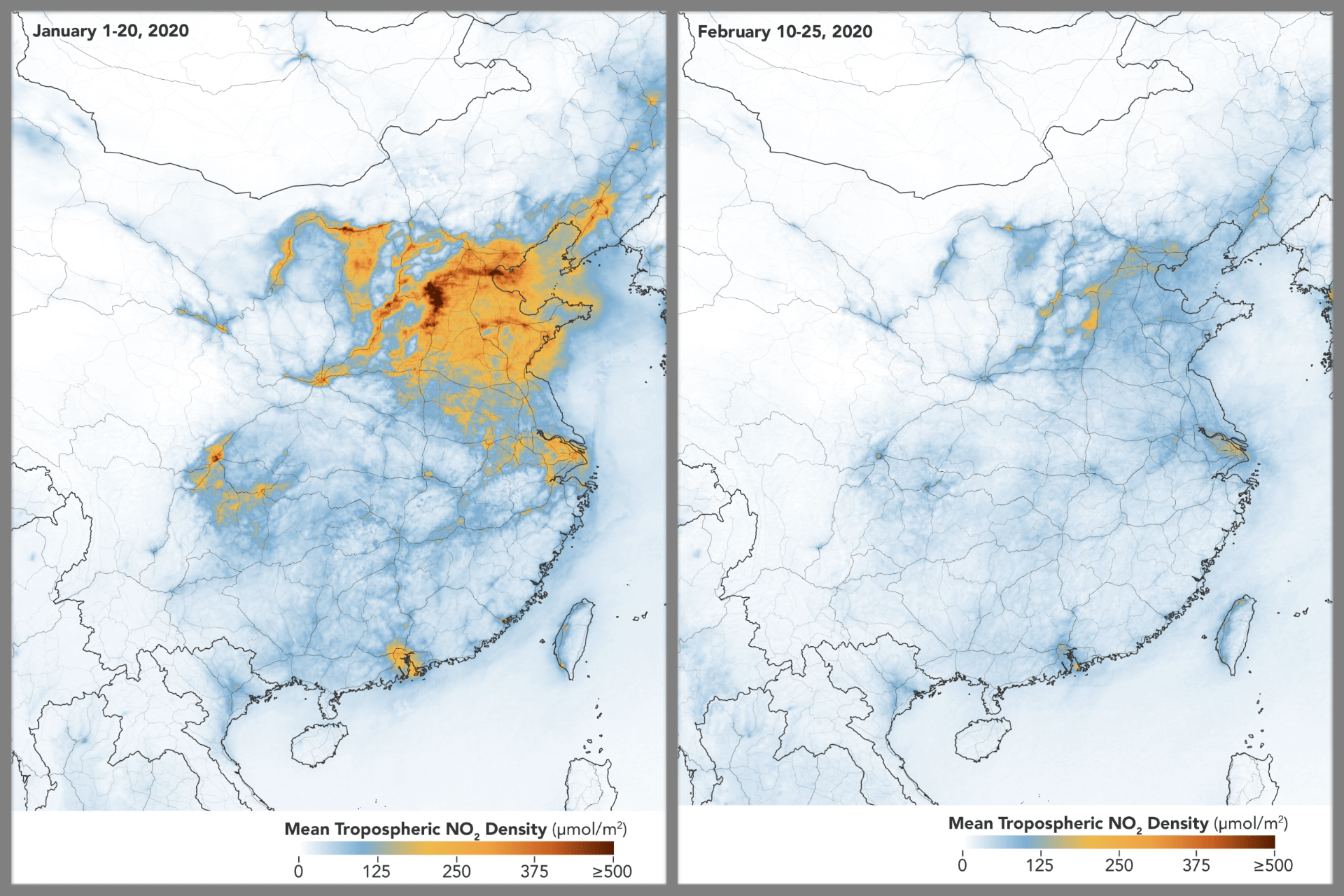 two maps comparing greenhouse gas densities over China, from before the coronavirus lockdown (very dense emissions), to after (almost no greenhouse gasses)