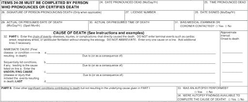 The relevant section of a U. S. Standard Death Certificate, showing how different causes are illustrated. Part II includes contributing factors such as diabetes or heart disease. You can see the entire form here. Some states may have slightly different death certificates, but the underlying structure is fairly constant.