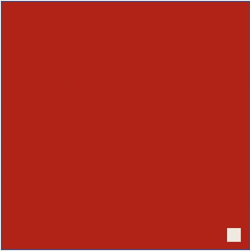 A large red square with a much smaller whitish square in the lower right corner