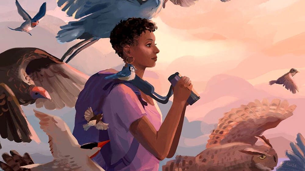 A painting of a young Black woman wearing a backpack and holding binoculars in her hands. She is gazing into the distance, and birds of various colors and sizes are flying around her.