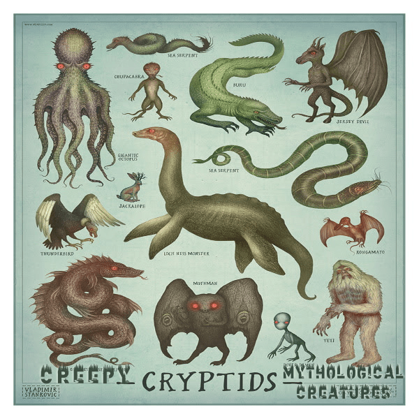 """[an image containing about a dozen drawings of different animals, including a giant squid and a komodo dragon, in front of a light blue background. The image is labelled """"Cryptids"""" at the bottom center.]"""