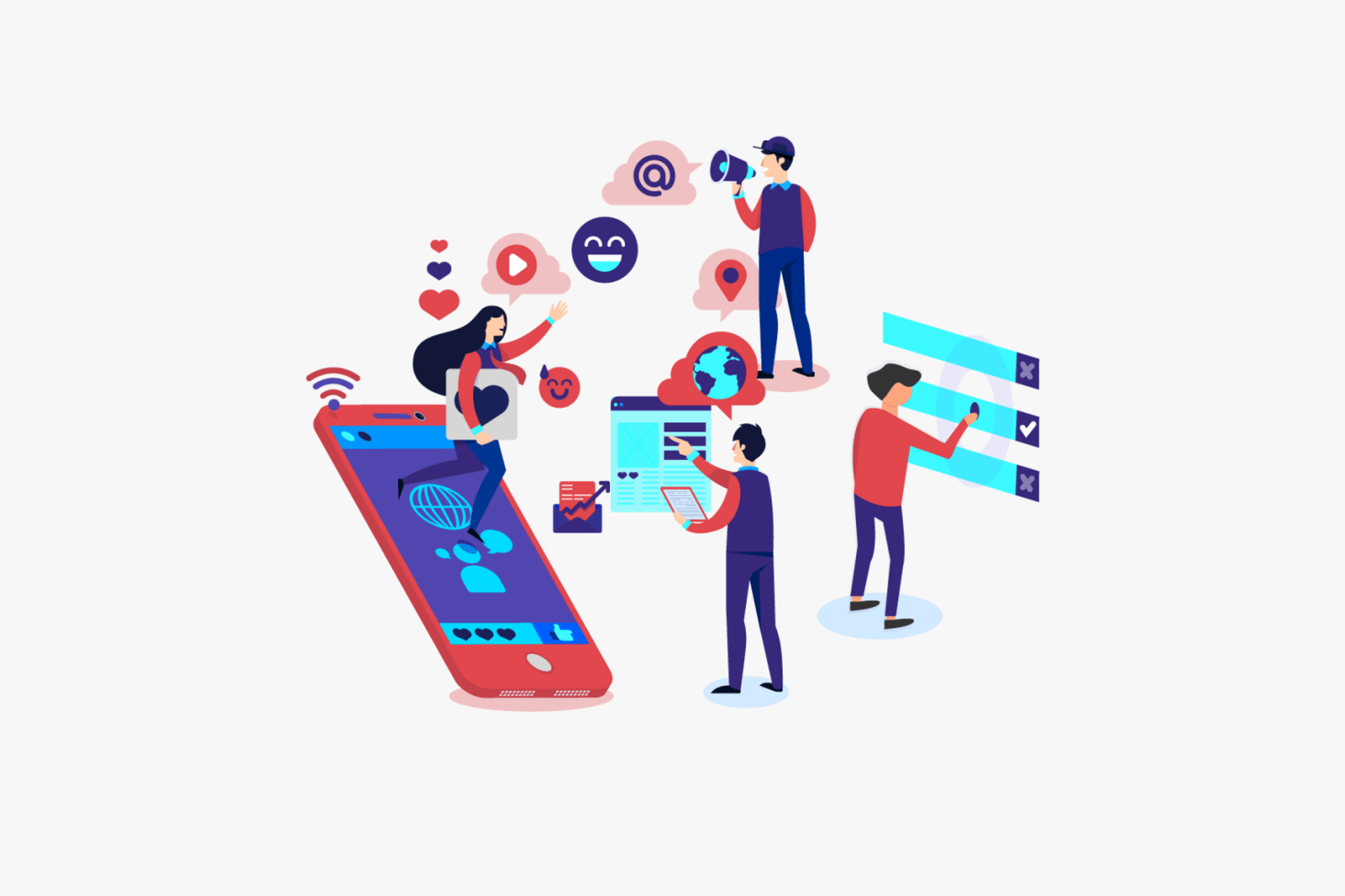 An infographic is depicting how social media connects people through multiple digital devices.
