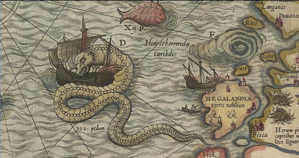 [A medieval map with a giant, green sea serpent entangled around a ship as it's crossing the ocean.]