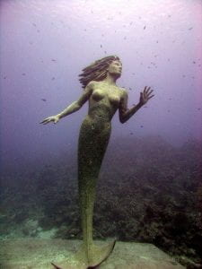 A man-made statue of a mermaid sits underwater while tiny fish swim around it.