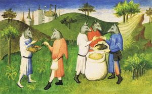 A medieval painting of Cynocephalus wearing human clothes and enjoying a meal together.