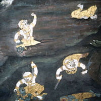 Art depicting the famous Vanaras of the Ramayana in gold clothes carrying swords on a backdrop of bluish-black.