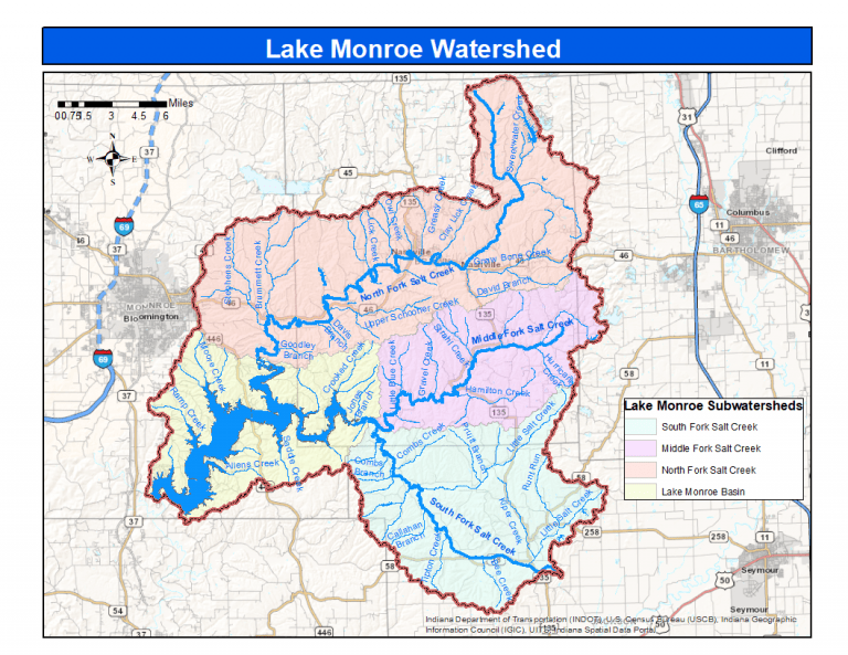 A map featuring the water systems of Monroe County. To the East three main creeks feed into Lake Monroe (to the West), each with many smaller branches of water.
