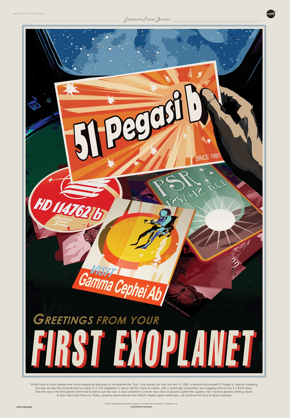 A travel poster for the first exoplanet featuring fake postcards of other planets and a hand holding up one which reads 51 Pegasi b. In the background is a stylised view out a window looking into space. On the bottom it reads Greetings from you first exoplanet