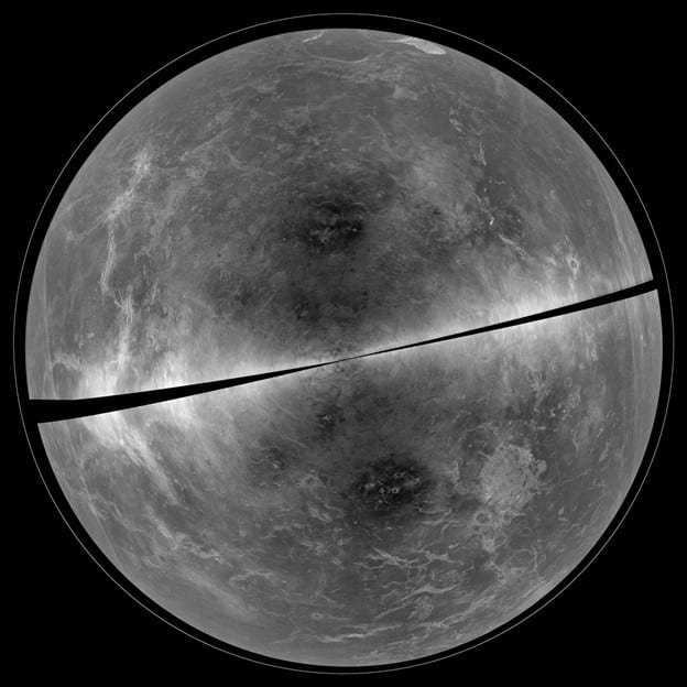 A black and white topographical map of one hemisphere of Venus. The map shows features on the surface of Venus in shades of grey with large almost black splotches and smaller grey ridges.