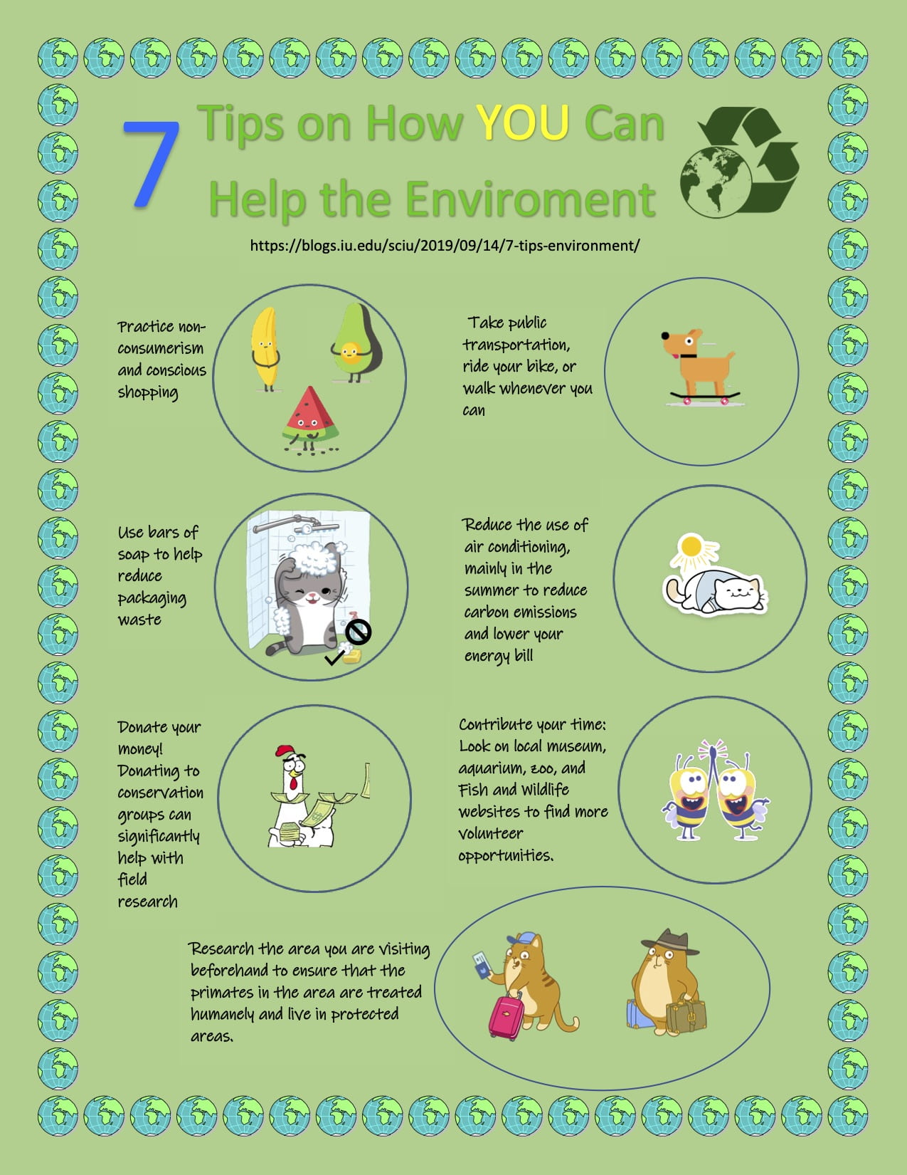[infographic about environment friendly tips. to read the original post go to https://blogs.iu.edu/sciu/2019/09/14/7-tips-environment/]