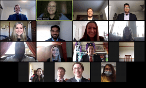 multiple people are shown in conference call.