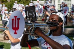 student playing mellophone
