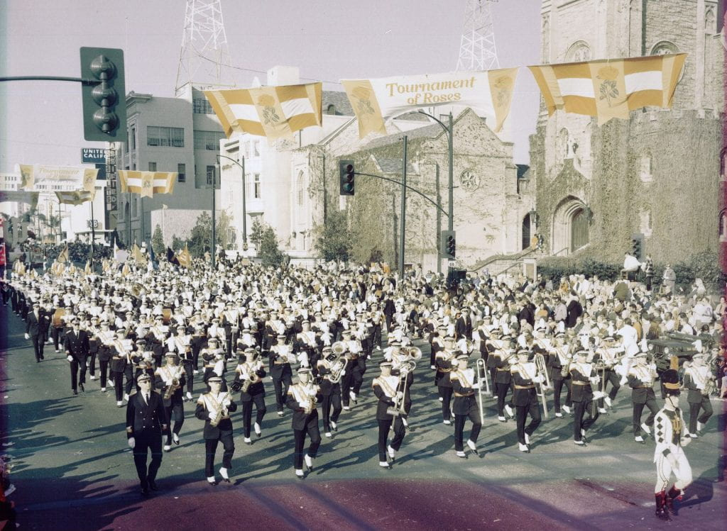 band marches in parade