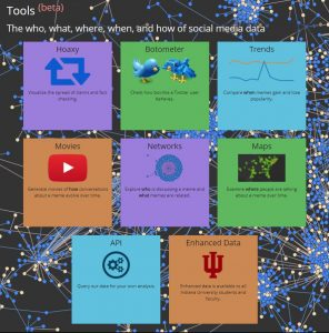 A screenshot of a home page that has various colored boxes and has network background designs. It is the OSoMe online toolset.