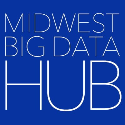 "A photo of a blue logo that reads ""Midwest Big Data Hub""."